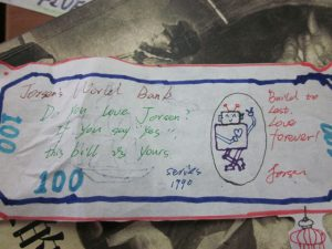 "One group kind of free-for-all'd it and each did their own crazy design. This was Jorsen's bill which cracked me up. (Why is there a robot with a heart on it?"" I asked. ""Because I like technological things,"" he told me.)"