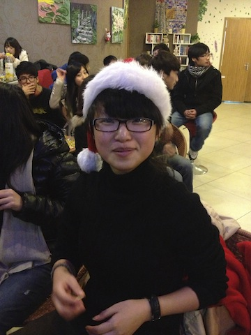 My cute student Rita at our class Christmas party.