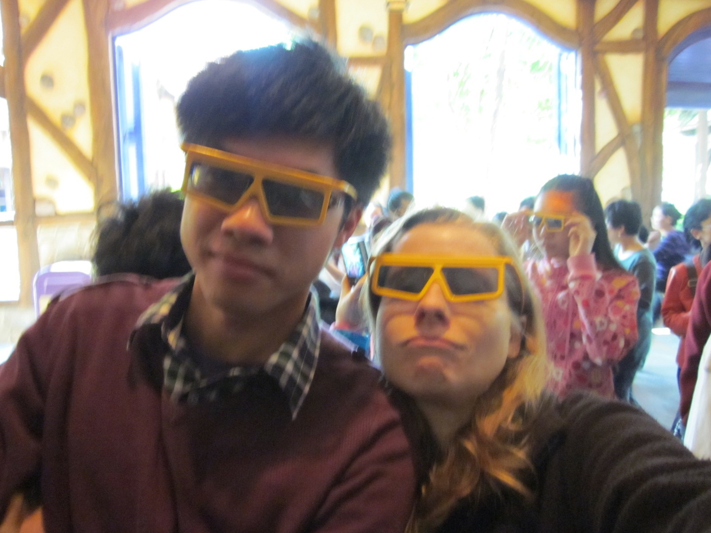 Color and I at Disney Hong Kong looking cool in our 3D glasses.