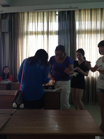 I turned out to be one of their classmates birthday, so the student teachers in charge worked a birthday surprise into the class. Students from another class helped carry out the surprise. It was fun and I got to eat cake!