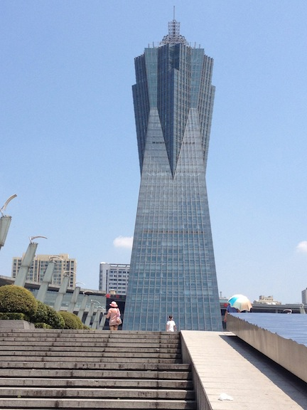 The location of the test was at the Hangzhou West Lake Cultural Center shopping plaza which has one of my favorite buildings in China. It looks like and evil fortress.