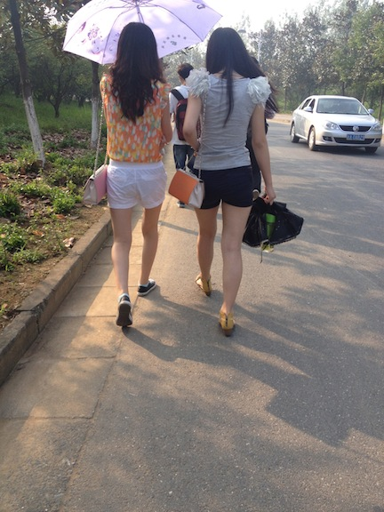 Some girls I was walking behind today. These shorts aren't nearly as short as the short ones, but you get the idea. These are just normal everyday shorts here in China.