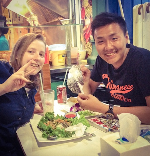 """One of my first nights found me eating next to a guy with a Taiwan shirt on. """"Are you from Taiwan?"""" I asked. We ended up hanging out for hours speaking a mix of Chinese and English."""