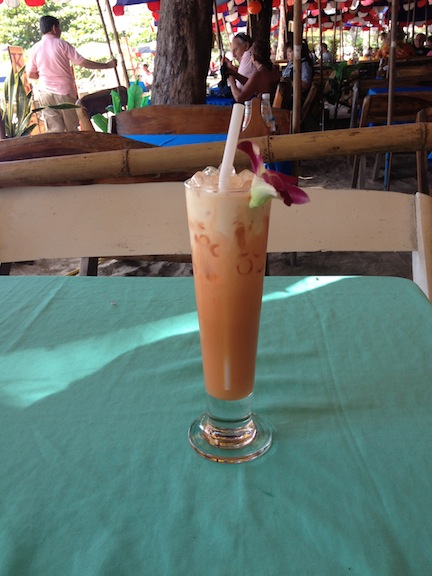 The magical elixir that is Thai ice tea. You would think a sweet milky drink would not be at all refreshing in the hot weather, but they make it icy cold, so it's delish.