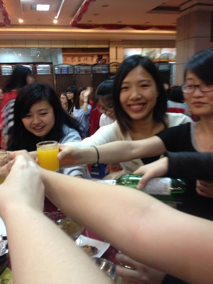 Yes there was food, and technically it was a dinner, but I would say within 10 minutes everyone had forgotten the food and instead was walking around 'gan bei-ing' everyone (cheers.)
