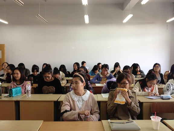 A typical classroom view from the teachers podium.