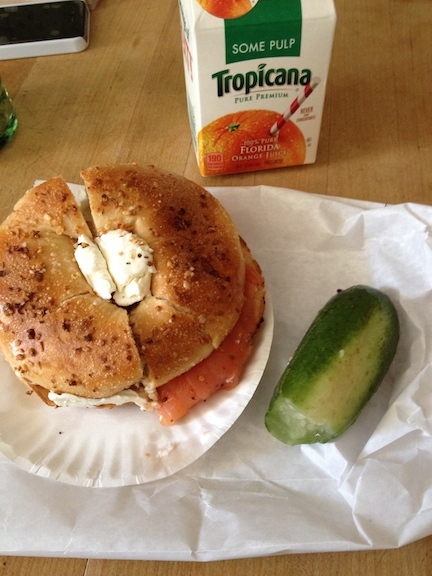 After eating this bagel with cream cheese and lox for breakfast I couldn't eat anything, even snacks, until the evening.