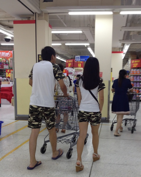 In America we are used to muffin tops, butt cracks and other terrible outfits. You don't see that much in China but you will see couples wearing matching outfits to show their love.