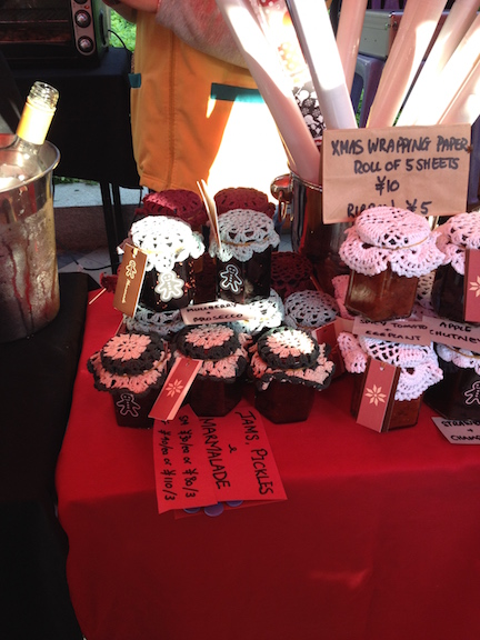 Homemade preserves are hard to find here in China, but the cute little craft fair sold them.