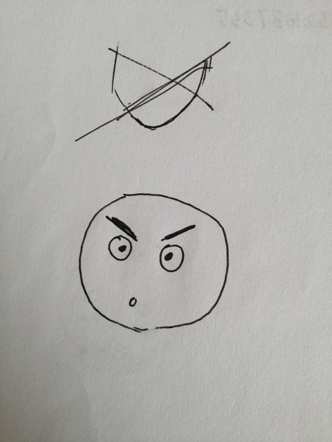 I like to think the expression on this face was the students feeling of frustration of drawing.
