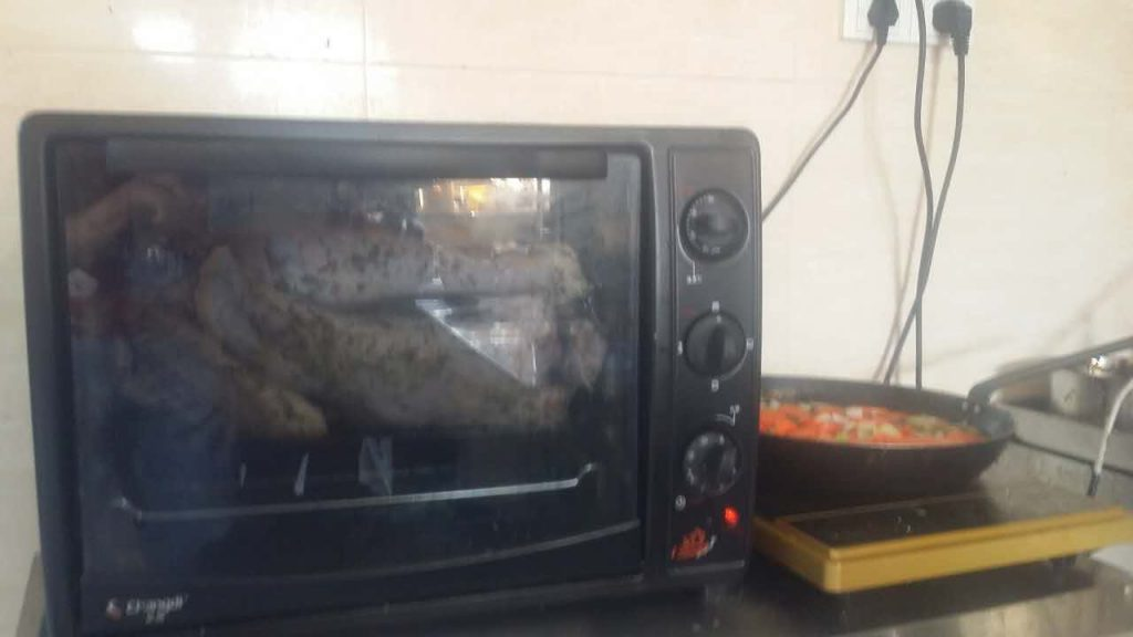 Ovens are also not standard in China. If people have them, they are like this, what we Americans would call a toaster oven. So my friends shoved the 17 pound turkey in this little sucker and hoped for the best.
