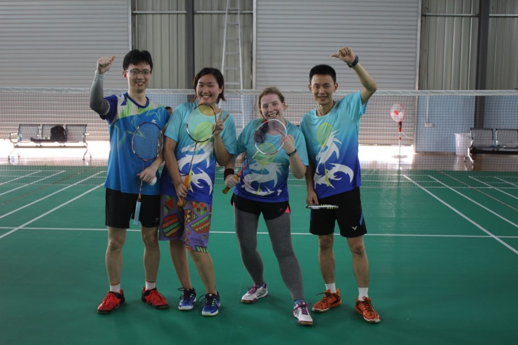 Our third game was the most anticipated game. We were against Xiao He (left) and Rebecca (next to me). Xiao He, Rebecca and I are the Three Musketeers of badminton. We have a chat group, just for the three of us, and we talk about badminton all the time. Xiao He is at a much higher level than me, but not as high as my coach. In fact, Xiao He was the one that introduced me to my coach, so I have a lot to thank him for. Anyway, we figured that with Xiao He, and my coach, our two teams would be playing in the finals. We had been smack talking for weeks about who was gonna win. Sadly, we both lost so instead of meeting at the finals, we met at the quarterfinals. And thanks to my lack of focus, my coach and I lost. Now my friends have leverage on me to mock me forever. Although, they didn't win either, as they got knocked out in the semifinals. So there. Neener neener, they suck too.