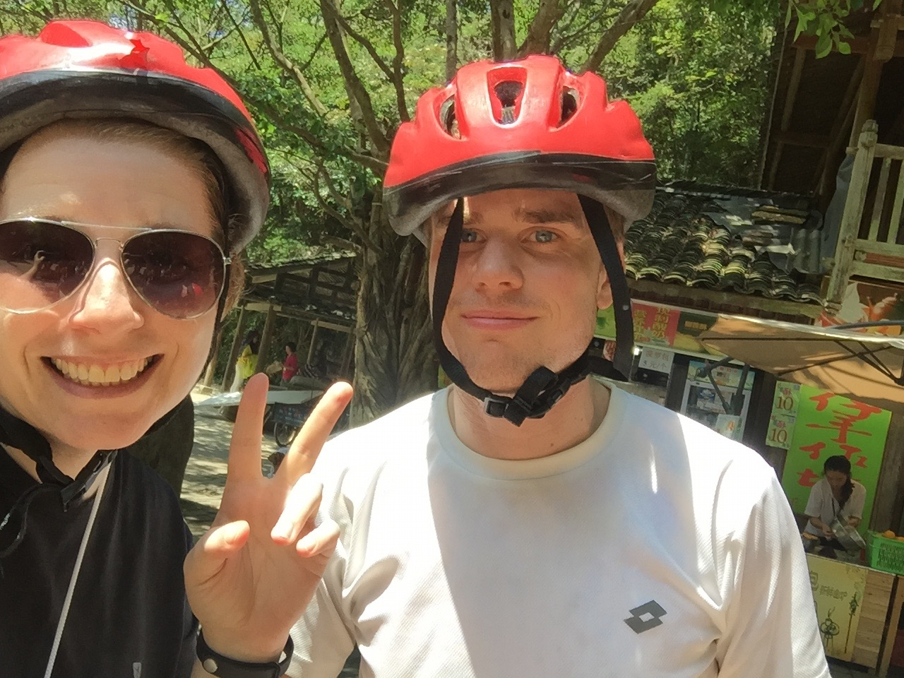 One weekend we went to Gudong waterfall, a place where you actually hike up in the middle of the river. You had to wear safety helmets that seemed more harmful then helpful to be honest.
