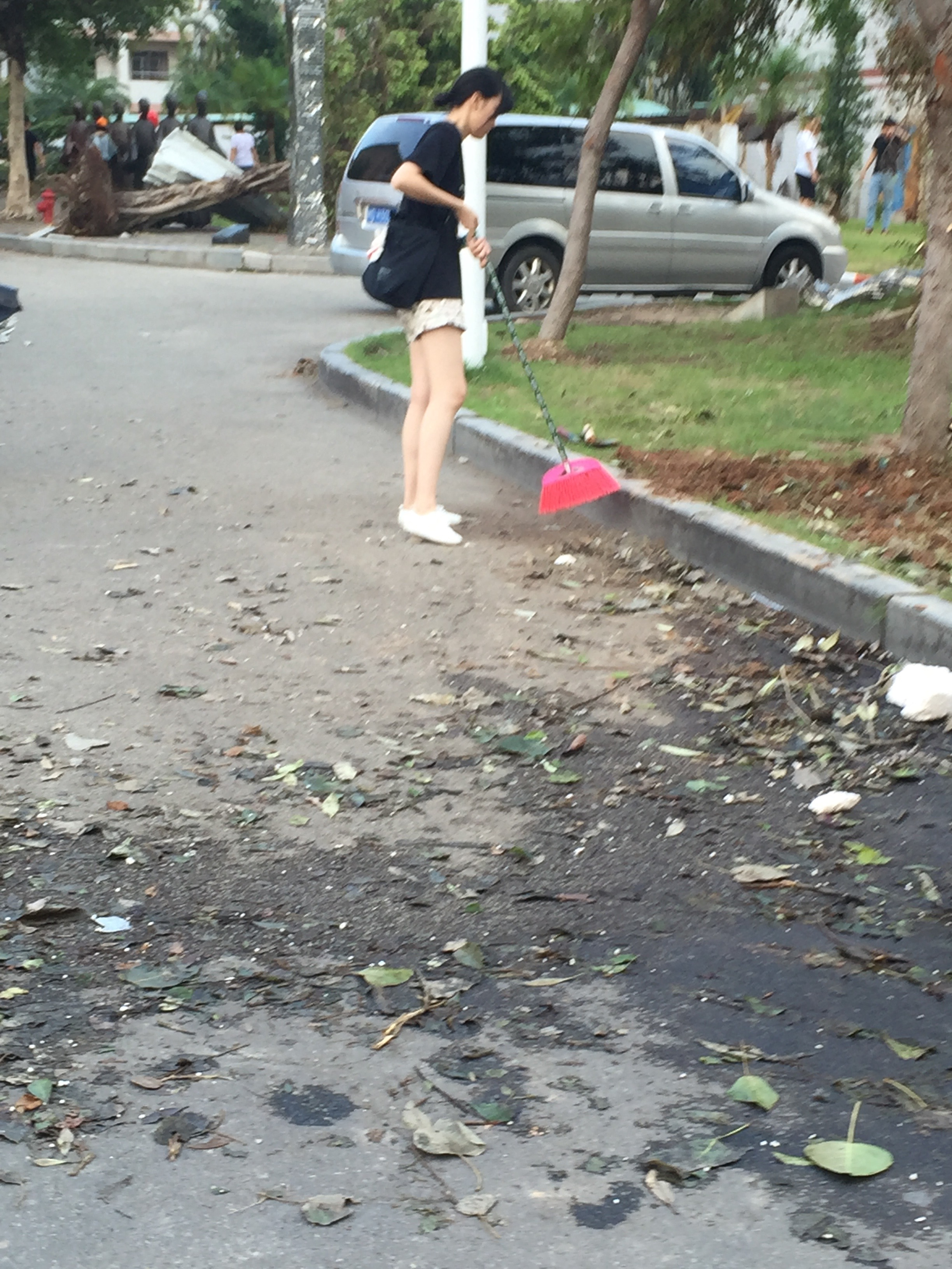 Clearly, some of the volunteers had no idea what to do, This girl had a broom and dustpan and was just lazily sweeping at a piece of muddy ground. She could have used a bit more direction I think.